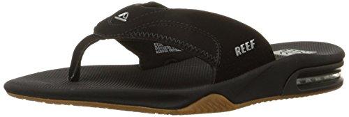Reef Men's Sandals Fanning | Bottle Opener Flip Flops for Men with Arch Support | Black/Silver | Size 11