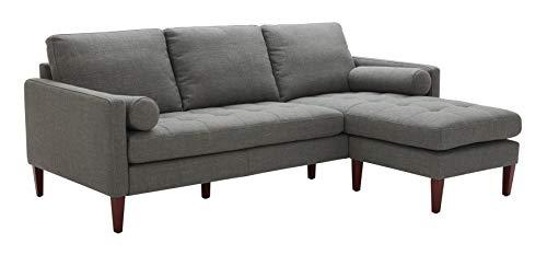 Amazon Brand – Rivet Aiden Mid-Century Modern Reversible Sectional Sofa (86') - Dark Gray
