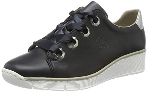 Rieker 53704-14 Obermaterial Leder, Zapatos de Cordones Derby Mujer, Azul (Navy/Silver 14), 41 EU