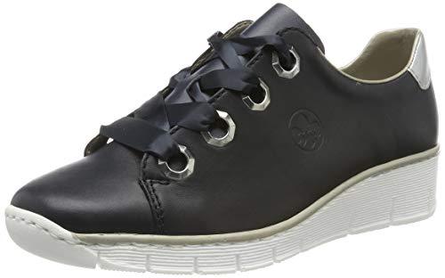 Rieker 53704-14 Obermaterial Leder, Zapatos de Cordones Derby para Mujer, Azul (Navy/Silver 14), 41 EU