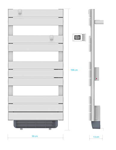 sèche serviettes Barres Rondes Sec chauffant - 500 WATTS + Soufflant 1000 watts -programmable - Blanc