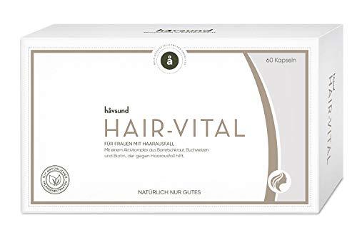 håvsund Hair-Vital bei Haarausfall in Schwangerschaft und Stillzeit - Vegan - Vitamin B6, B12, Biotin, Zink und Folsäure - Monatspackung 60 Kapseln