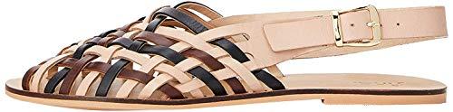 find. Woven Leather Sandalias de Talón Abierto, Multicolor Brown Mix, 36 EU