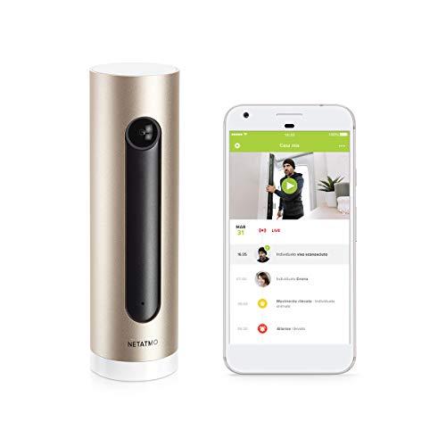 Netatmo NSC01-EU Welcome Telecamera WiFi Interna, Sensore di Movimento, Visione Notturna, Senza abbonamenti, Nero/Oro