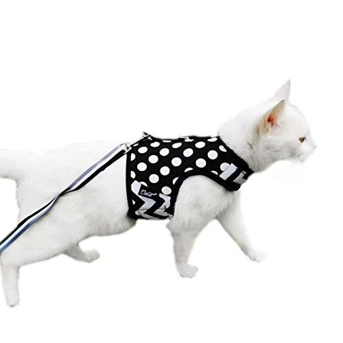 Yizhi Miaow Escape Proof Kitten Harness with Leash X-Small, Adjustable Kitten Walking Jackets, Padded Kitten Vest Polka Dot Black