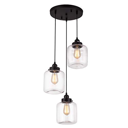Weesalife Pendant Light with Transparent Glass Shade Matte Black 3-Lights Pendant Lighting...