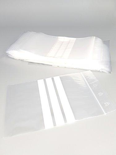 Bolsas de plástico con cierre zip con bandas blancas - 40mm