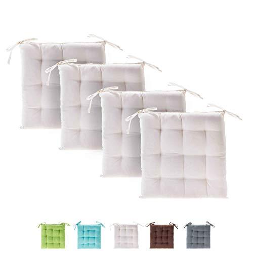 etérea Basic Sitzkissen, Stuhlkissen mit Bändern - für Innen- und Außenbereich geeignet, Sitzpolster Auflage für Haus und Garten - 4er Set - 40x40 cm, Creme