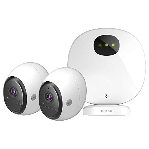 D-Link DCS-2802KT-EU Kit Sicurezza WiFi, Alimentate a Batteria, HD, Visione Notturna, 2 Telecamere, Funziona con Alexa, Bianco