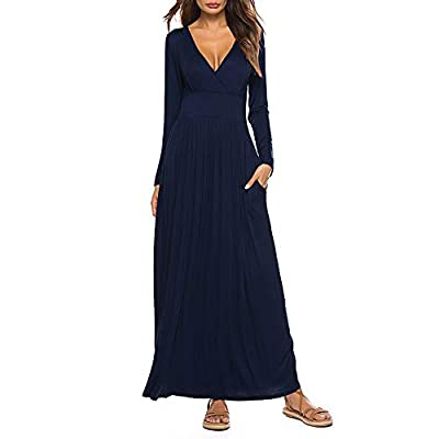 Material: Cotton+ Polyester, Breathable, Stretcy and Soft. Features: Casual Style, Two Side Pockets, Long Sleeves, V Neck, Floor Length, Not lined, Maxi Dresses. Occasion:Casual/Party/Beach/Work/Holiday/Formal/Home.Good for Summer and Autumn. 100% SA...