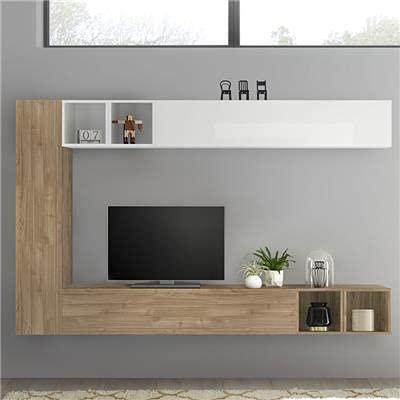 Mobiletto TV sospeso bianco laccato e rovere LIZZANO
