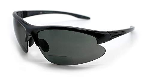Renegade Patented Bifocal Polarized Reader Half Rim Men's Fishing Sunglasses 100% UV Protection with Microfiber Bag (Matellic Frame, Grey Lens - 600901, Bifocal +2.00)