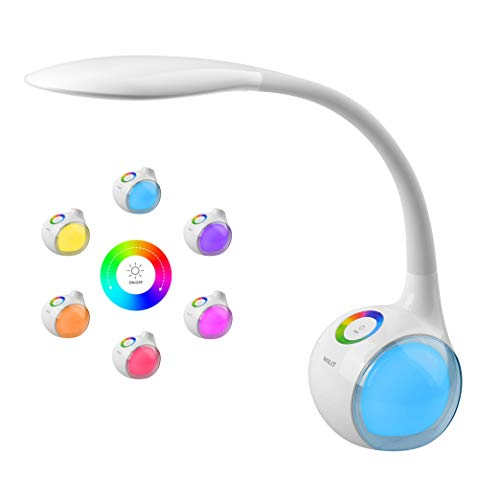 WILIT T3 5W Dimmbare Kinder Schreibtischlampe 34 LED Nachttischlampe Schwanenhals mit Touchfeld, Tischleuchte mit 256 Farblicht und 3 Helligkeitsstufen für Lesen, Arbeiten, Studieren, Weiß