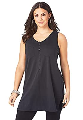 PLUS SIZING: Size 2X will fit Plus sizes 26 to 28 An essential top in a new, softer cotton with a button front and side slits. Relaxed silhouette. This longer tank top will always have you feeling confident and beautiful, part of our Ultimate Tunics ...