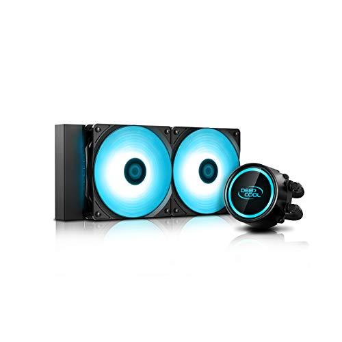 DDEEP Cool GAMMAXX L240 V2, Watercooling, Refroidissement Liquide du Processeur, Système Anti-Fuite Tech, RGB Pompe et Ventilateurs, Contrôlé par la Carte Mère, Compatible AM4, Garantie de 3 Ans