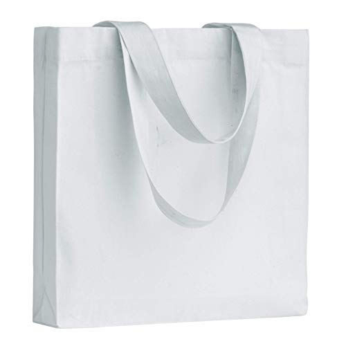 POLHIM Borsa in Tela di Cotone Riutilizzabile, in Tessuto di Cotone, Lavabile, per la Biancheria, per la Ginnastica, la Spesa, la Spiaggia, Le Verdure, Colore: Bianco, 1 Pezzo