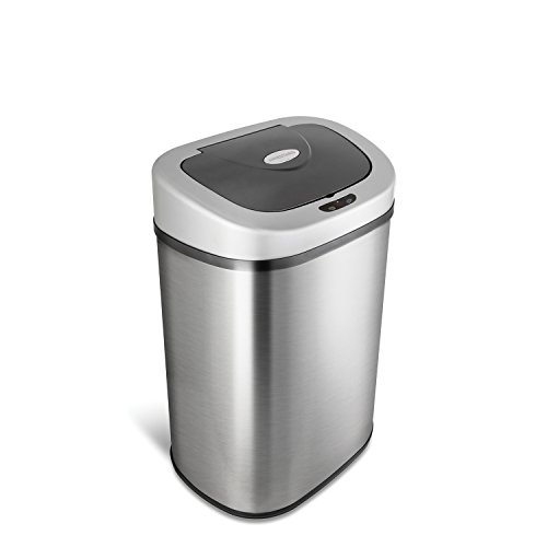 NINESTARS Automatic Touchless Infrared Motion Sensor Trash Can with Stainless Steel Base & Oval, Silver/Black Lid, 21 Gal