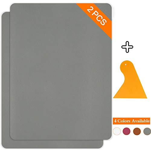Leather Repair Patch Kits for Car Seats Couches and Elbow 2 Pieces Self-Adhesive Patch for Leather and Vinyl Repair, 8 11inch Leather Sofa Repair Kits(Gray)