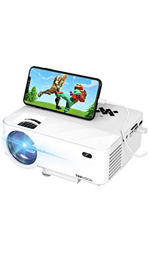 """Mini Projector, T TOPVISION 2400Lux Projector with Synchronize Smart Phone Screen, Supported 1080P, 176"""" Display, 50,000 Hours Led, Compatible with Fire TV Stick/HDMI/VGA/USB/TV/Box/Laptop/DVD"""