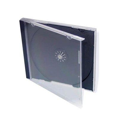 100 CUSTODIE CUSTODIA BOX DVD CD SINGOLO JEWEL CASE NERO FRONTE TRASPARENTE