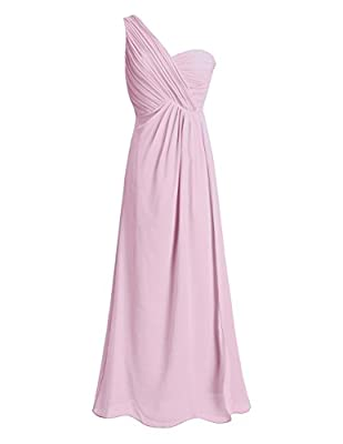 Women Ladies Chiffon High-waisted Bridesmaid Dress. One-shoulder and split slit front design, hidden back zipper closure with clasp. Pleated padded top bodice, inside with silicone band for keeping in place. 2 layers dress, top chiffon layer with 1 l...