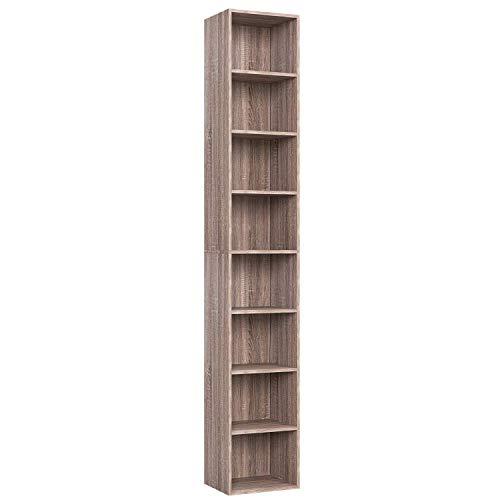 Homfa Scaffale Libreria Altezza Regolabile Mobile Soggiorno in Legno Mobile per Archiviazione 30  23.5  180 cm Carico 30 kg (Marrone)
