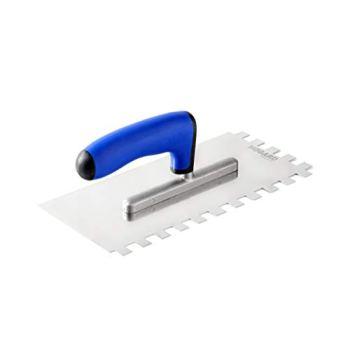 HOGARD Truelle de Dentée, Taloche pour Colle en Acier Inoxydable, Crantée Carrée Outil de Tuile Made in EU, Dent 12x12 mm