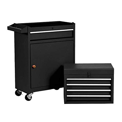 Product Image 1: Compact Tool Box Chest Combo 5 Drawer Mechanic Tool Box Small Heavy Duty Rolling Tool Chest on Wheels Tool Cabinet Organizer with Lockable Drawers Tool Chest Black