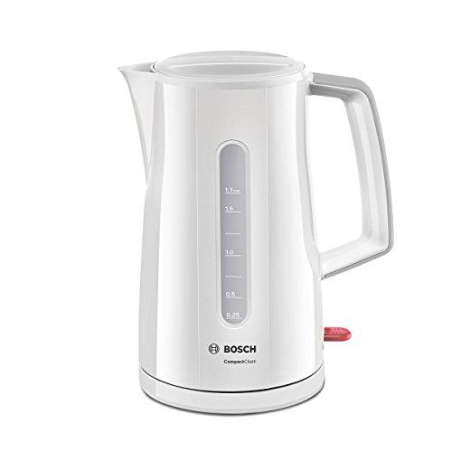Bosch Hogar HERVIDOR Agua Bosch TWK3A011 2400W,1.7Ltr, 2400 W, De plástico, Acero Inoxidable, Blanco