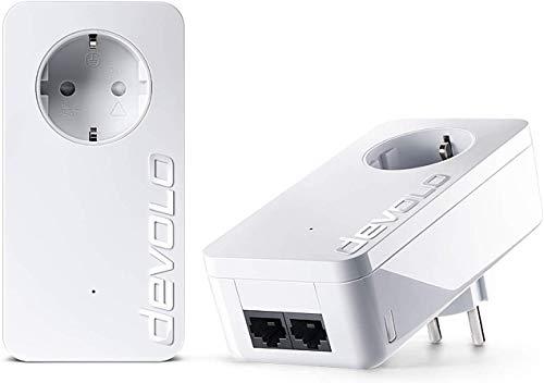 Devolo dLan 550 Duo+ - Kit de adaptadores de notificación por línea eléctrica (con 2 Puertos LAN), Blanco