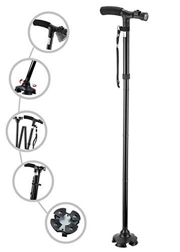 Fixoria Foldable, Adjustable, Lightweight Aluminum Collapsible Telescopic Walking Stick Cane Trusty, Folding with LED Light for Old Gentleman, Men, Women