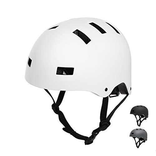 Vihir Erwachsene Fahrradhelm skaterhelm BMX fahradhelm Herren Damen Kinder Sport Helm für Männer & Frauen, Weiß/S