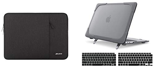 MOSISO Heavy Duty Plastic Hard Shell Case with Fold Kickstand & Vertical Sleeve Bag Compatible with MacBook Air 13 inch 2020 2019 2018 Release A2179 A1932