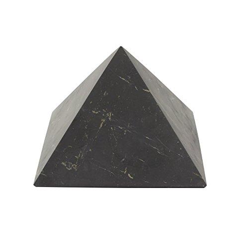 Heka Naturals Pirámide de Shungita Sin Pulir 10 cm con Fullerenos | Auténtica Piedra Shungita de Karelia, Rusia | Pirámide Sin Pulir de 10 cm