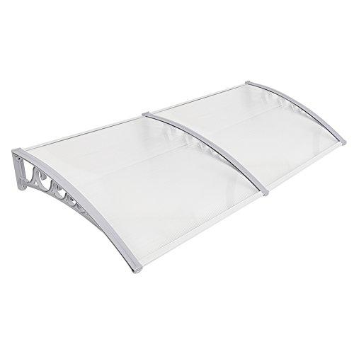 Marquesina para Puerta de Entrada, plástico, Aluminio, marquesina en Arco de Escritorio, marquesina, Transparente, toldos para Ventanas (100x200cm)