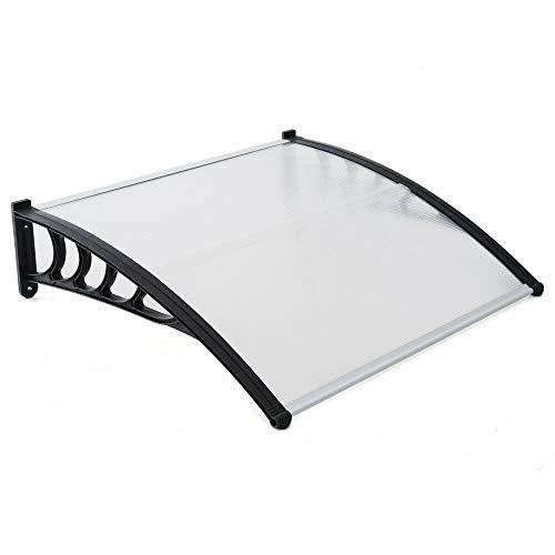 120/150/200 cm, marquesina transparente, para puertas y ventanas, de policarbonato, resistente a la corrosión, resistente a la intemperie (negro) (150 cm)