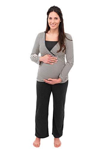Herzmutter Stillpyjama-Umstandspyjama - Gestreifter Schlafanzug für Damen - Nachtwäsche für Schwangerschaft-Stillzeit - weiches Pyjama-Set mit Stillfunktion - Lang-Langarm - 2100 (M, Weiß/D-Grau)