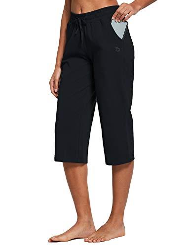 BALEAF Women's Active Yoga Lounge Indoor Jersey Capri Pocketed Walking Crop Pants Black Size L 3