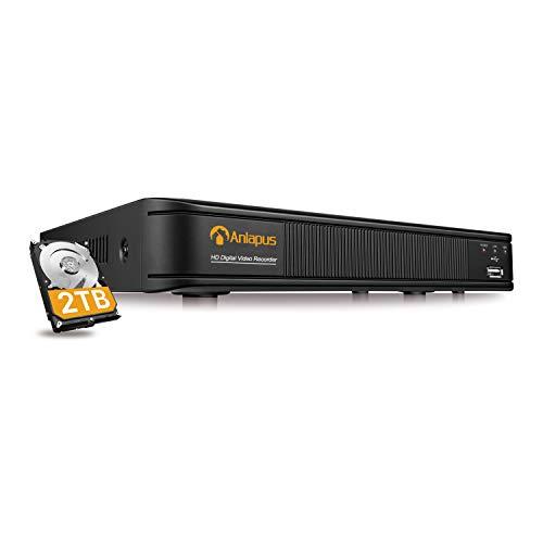 Anlapus 8 Canali 1080P H.265+ Videoregistratori di Sorveglianza per DVR Kit Videosorveglianza, 2TB HDD, P2P