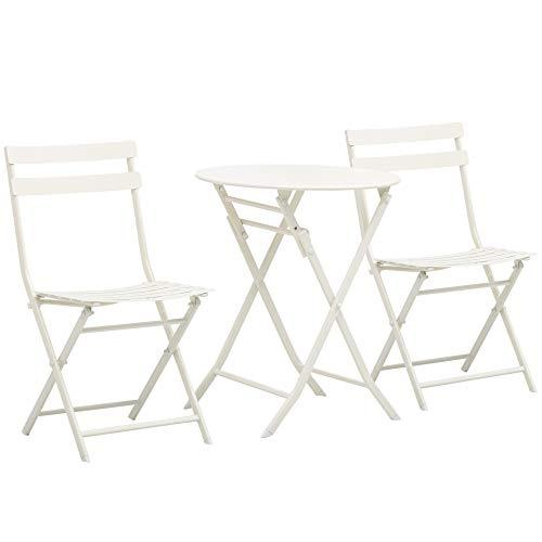 Outsunny Tavolino con Sedie da Giardino Pieghevoli in Acciaio Bianco, Set 3 Pz per Balcone, Terrazzo, Esterno