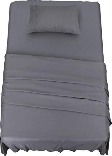 Utopia Bedding Bed Sheet Set - Soft Brushed Microfiber Fabric - Shrinkage & Fade Resistant - Easy Care (Twin XL, Grey)