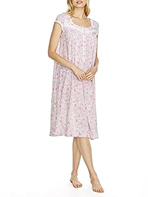 """Have sweet dreams int his pink rose print nightgown Pearl oyster button neckline with embroidered detailing Cap sleeves with ruffled trim along hem 42"""" long from shoulders; measured from size S Soft, stretch cotton & modal blend"""