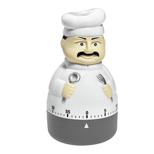 TFA Dostmann Küchen-Timer Koch, 38.1008, Eieruhr, in Form eines Koch, Metall-Aufzugswerk