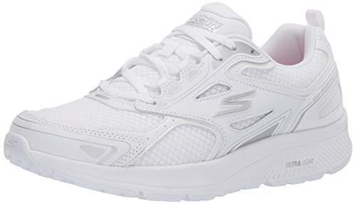 Skechers Go Run Consistent, Zapatillas Mujer, Blanco (White Leather/Synthetic/Silver Textile WSL), 38 EU