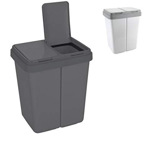 Ribelli Zweimer Duo Müllbehälter mit Deckel Kunststoff Mülleimer für die Küche geruchsdichter Abfalleimer Mülltrennsystem 2 x ca. 25 Liter - Farbe: Anthrazit