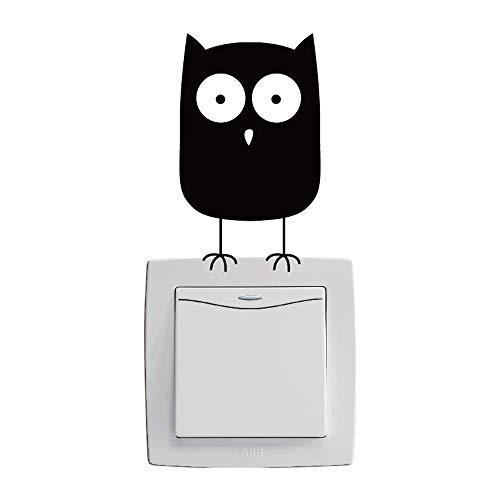 posterguo Lichtschaltersticker 4pcs Niedlichen Cartoon Lichtschalter Vinyl Aufkleber für Kinderzimmer Wohnkultur Wandkunst Aufkleber Schlafzimmer Wandbild Schwarz