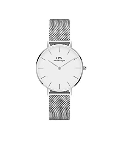 Daniel Wellington Petite Sterling, Silber/Silber Uhr, 28mm, Mesh, für Damen