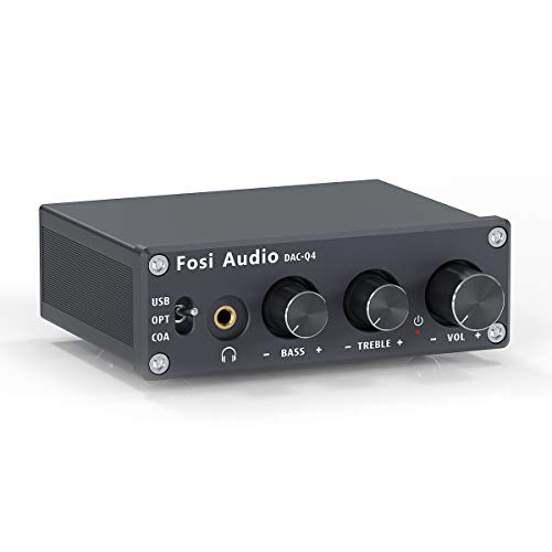 Fosi Audio Q4 - Mini Stereo Gaming DAC & Headphone Amplifier, 24-Bit/192 KHz USB/Optical/Coaxial to RCA AUX, Digital-to-Analog Audio Converter Adapter for Home/Desktop Powered/Active Speakers - Black