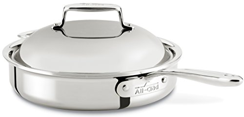 All-Clad SD754036 D7 18/10 Stainless Steel 7-Ply Bonded Construction Dishwasher Safe Oven Safe Roaster Pan Saute Pan, 3-Quart, Silver