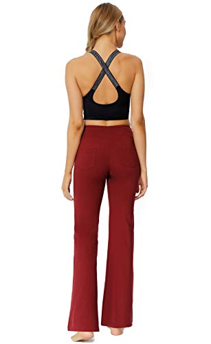 Women's Bootcut Yoga Pants Workout Wide Leg Flared Bell Bottom Loose Fit Overalls Yoga Pants for Women,Red,XL 4